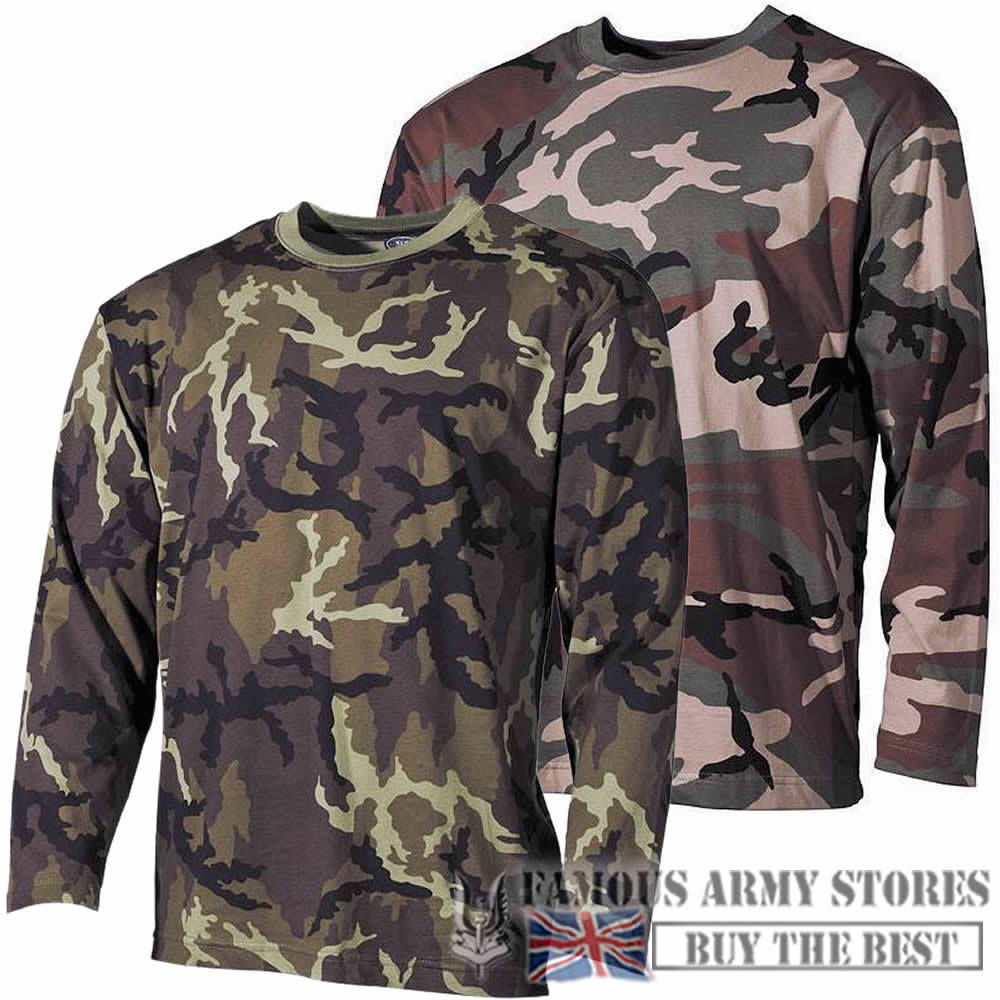 CAMO LONG SLEEVE TOP T-SHIRT MENS COMBAT CAMOUFLAGE ARMY MILITARY FISHING HUNT