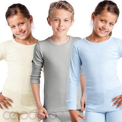 MT® Kinder Thermo Langarm Hemd für Mädchen+Jungen Thermowäsche Thermounterwäsche