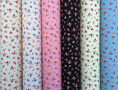 Floral PolyCotton Fabric Meadow Flowers Wine,Pink,Orange,Blue,Wine,Cerise,Pink