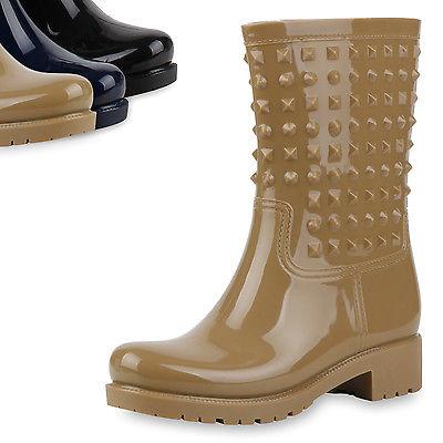 Bequeme Damen Stiefel Gummistiefel Regen Schuhe Profil Sohle 811103 Top