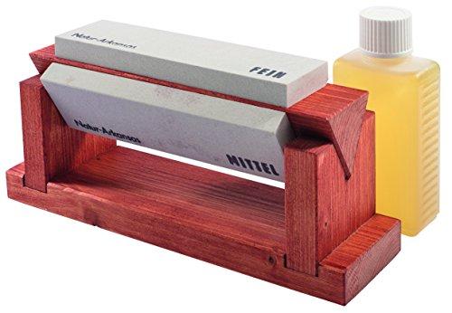 Herbertz Erwachsene Holzblock mit 3 Abziehsteinen, 150x45x15 mm, Schärföl Schärfprodukte, Mehrfarbig, One Size