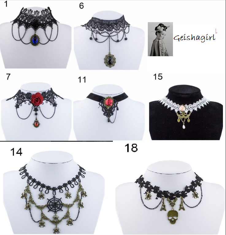 Halloween Gothic Lace Vintage Choker Victorian Burlesque Collar Pendant Necklace