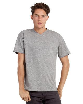 B&C TU006 Mens Exact 2-Ply V-Neck Short Sleeves Comfort Casual Wear T-Shirt Tops