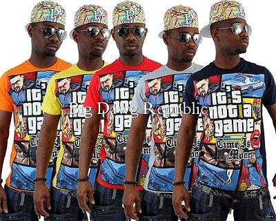 Time Is Money Mens Boys Game On Star Summer Holiday Beachwear Hip Hop Tee Shirts