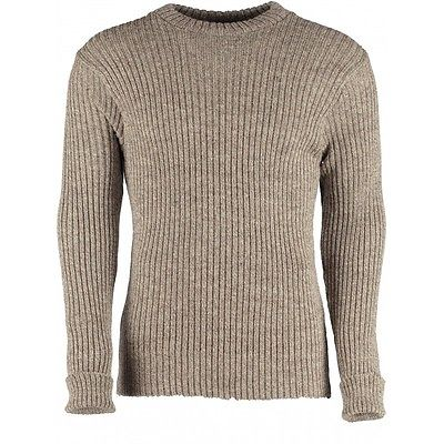 100% Wool Ribbed Jumper. Crew Neck. Nato Style. OUTDOOR,UNIFORM,SECURITY ,#12998