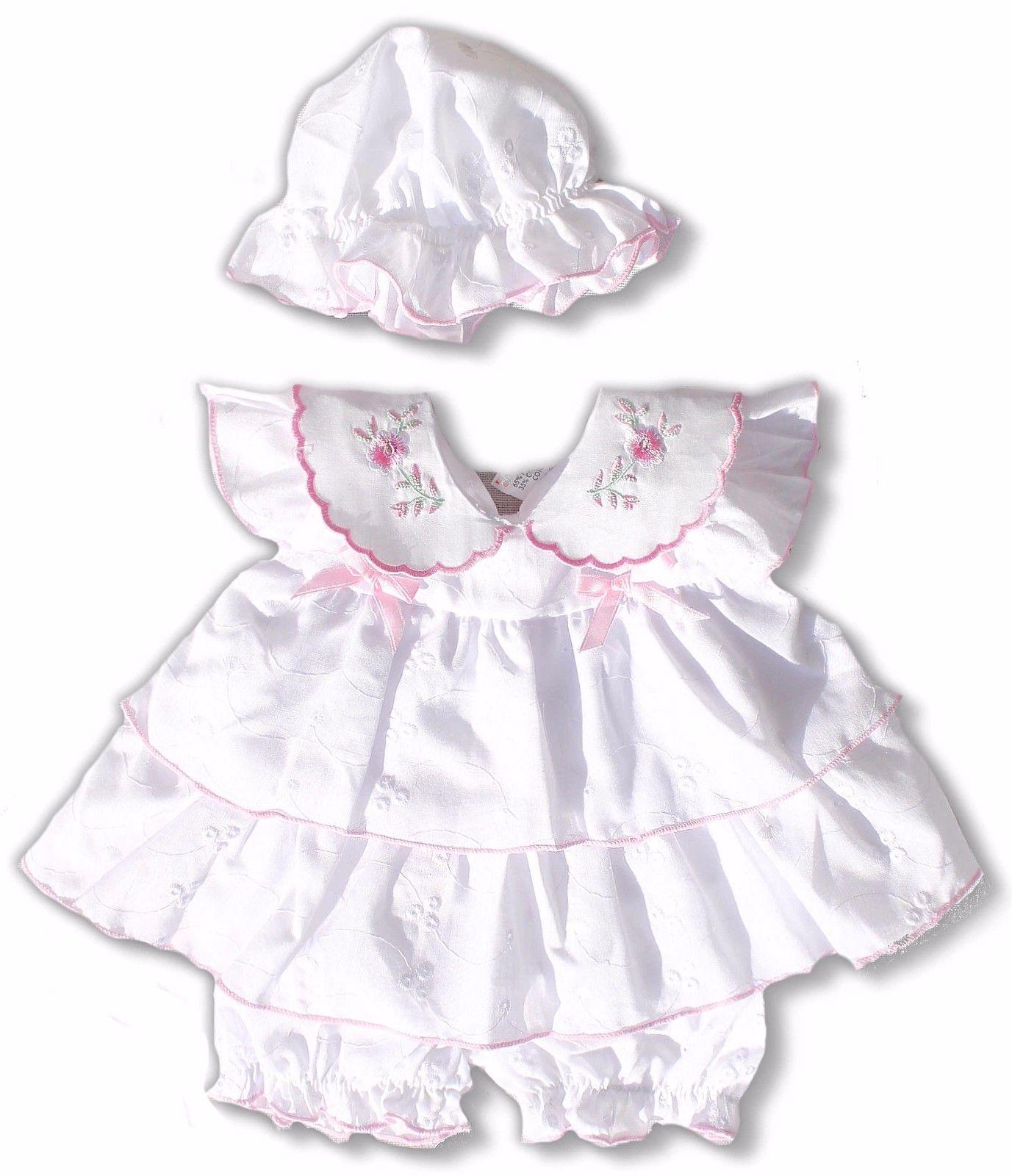 Frühchen Kleid, Gr. 48, 50, 3 tlg. weißes Frühchen Kleid- Set, Kleid Neugeborene