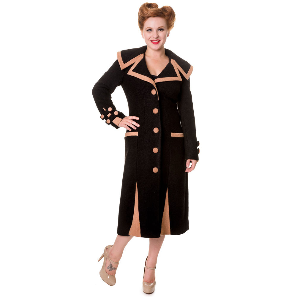 Banned Mantel - Wooly Trench Schwarz