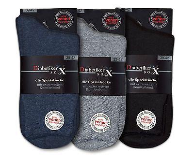 3-12 Paar Herren Socken Diabetikersocken Komfortbund ohne Gummi 97 Pro Baumwolle