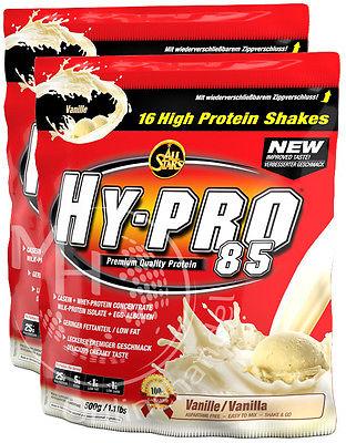 All Stars Hy-Pro 85 (31,79€/Kg) 2x 500g +Shaker !Protein Eiweiss #14 Sorten