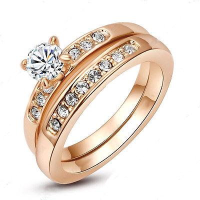 Luxus Ring 2tlg Set Goldrosé 18 Karat 750 Austrian Kristall Crystal Zirkonia!
