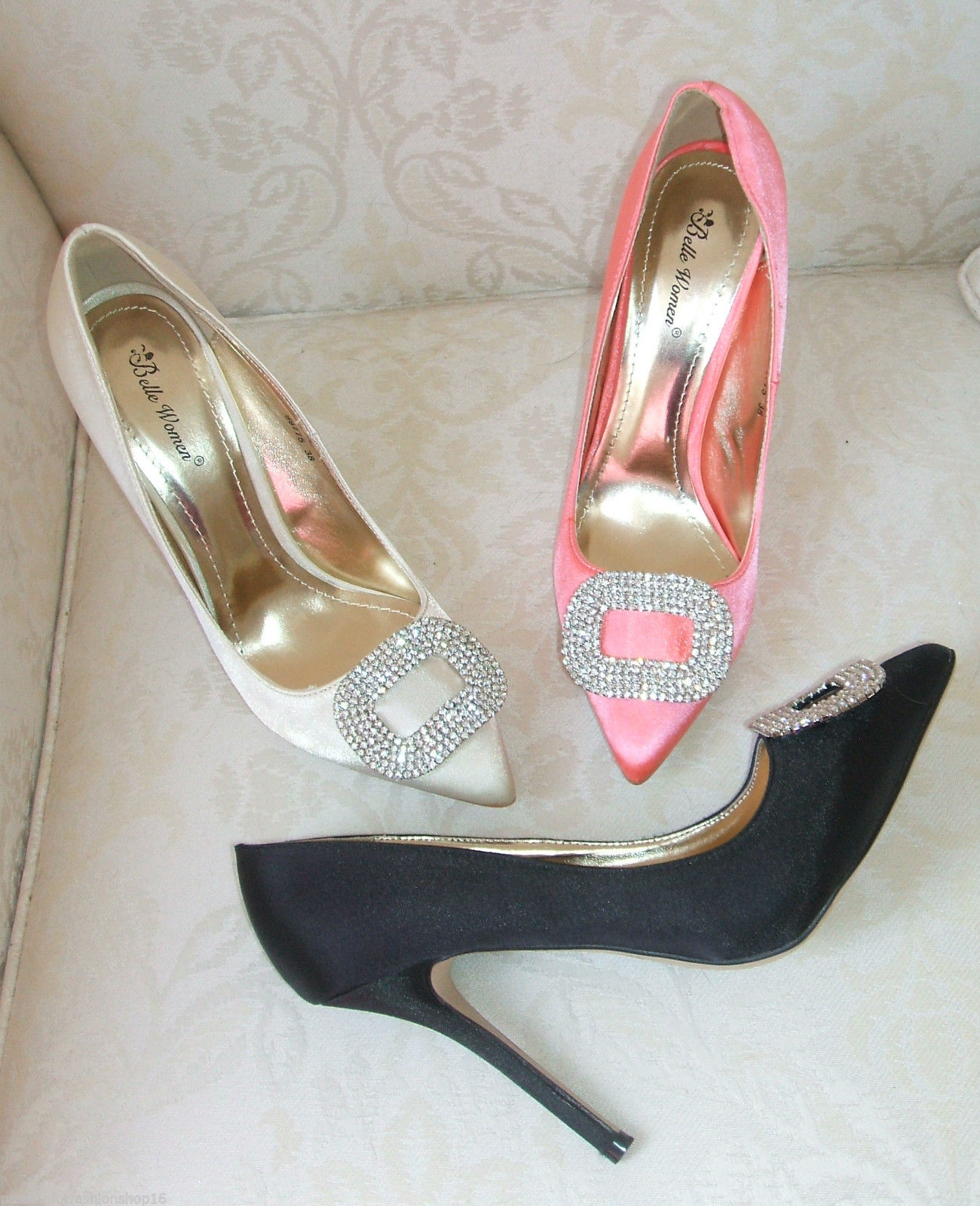 BNWB SIZE 3 4 5 6 7 8 IVORY SILVER CORAL BLACK SATIN DIAMANTE OCCASION SHOES