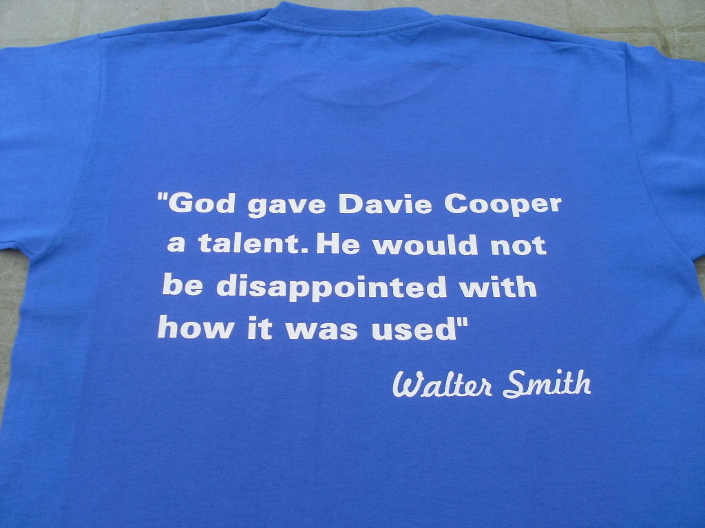 Glasgow Rangers Davie Cooper Tribute T-Shirts & Sweat Shirts Sizes inc 4XL & 5XL
