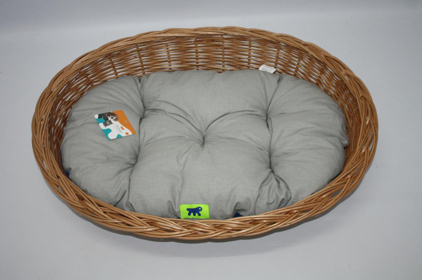 Aumüller Hundekorb aus Weide hell 60 - 100 cm mit Ferplast Kissen in 3 Farben