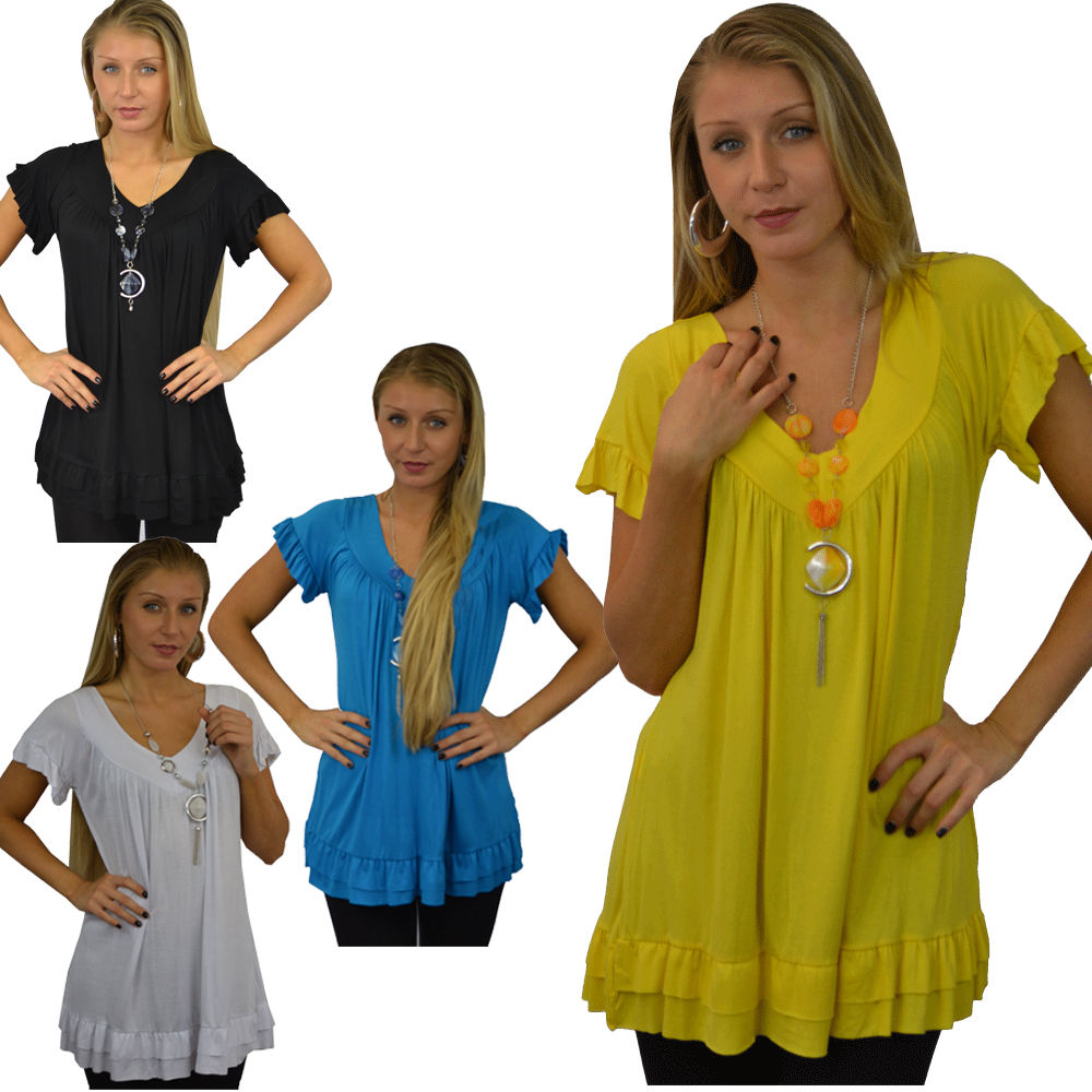 Ladies Frill Necklace Gypsy Tunic Short Sleeve Long V Neck Plus Size Womens Tops