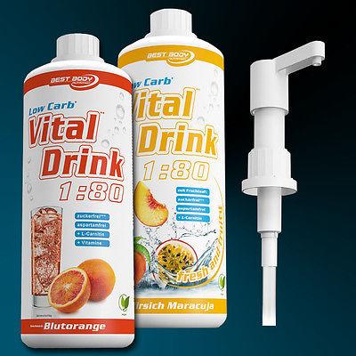 10,53€ /Ltr.) Best Body Low Carb Vital Drink  2 x 1 Ltr. + 1 Dosierpumpe 5ml Hub