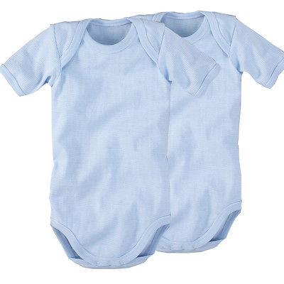 wellyou baby body 2er Set kurzarm hellblau weiß baumwolle größe 50 bis 134