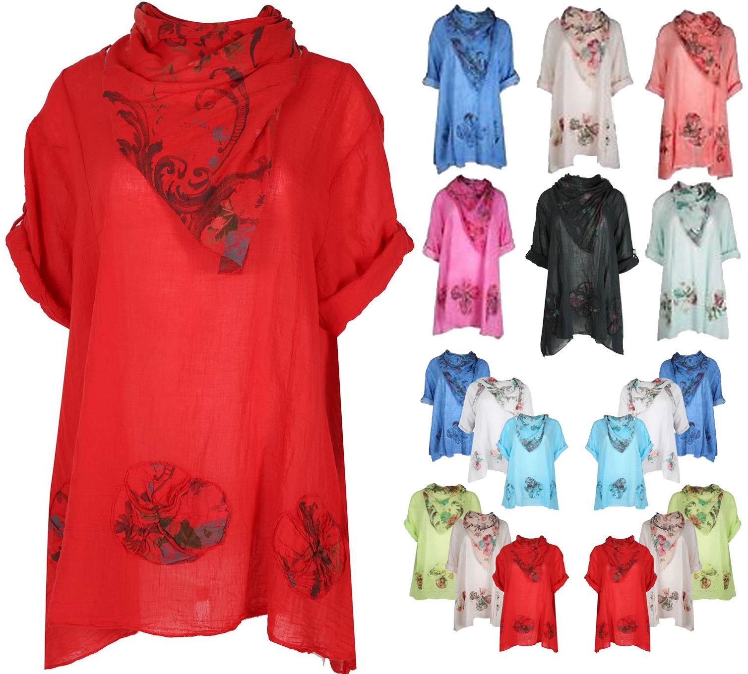 476ce74d5a57 Ladies Leganlook Cotton FLORAL ITALIAN WOMAN TOP Tunic with scarf UK 16-24
