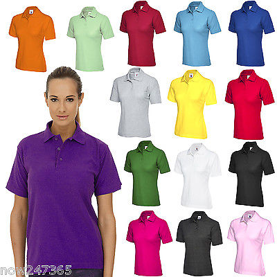 Ladies Polo Shirt Size UK 6 - 26 Plus Classic Fit Premium Pique Sports T Shirt