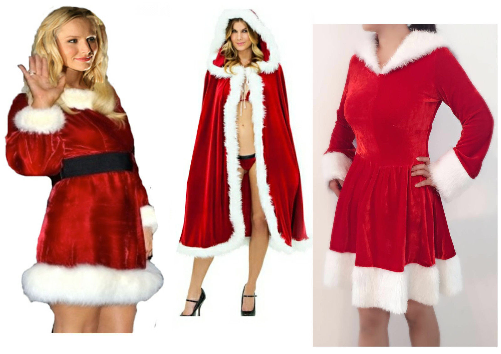 Ladies Sexy Miss Santa Christmas Outfit Claus Party Fancy Dress Costume