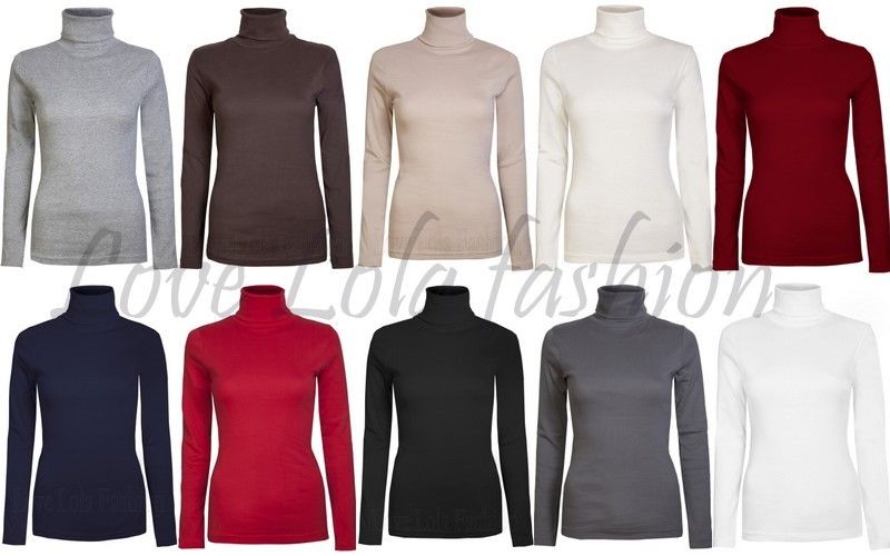 Womens Roll Necks Ladies Jumpers Plain Tops Winter Polo Neck Tops Size 10 - 18