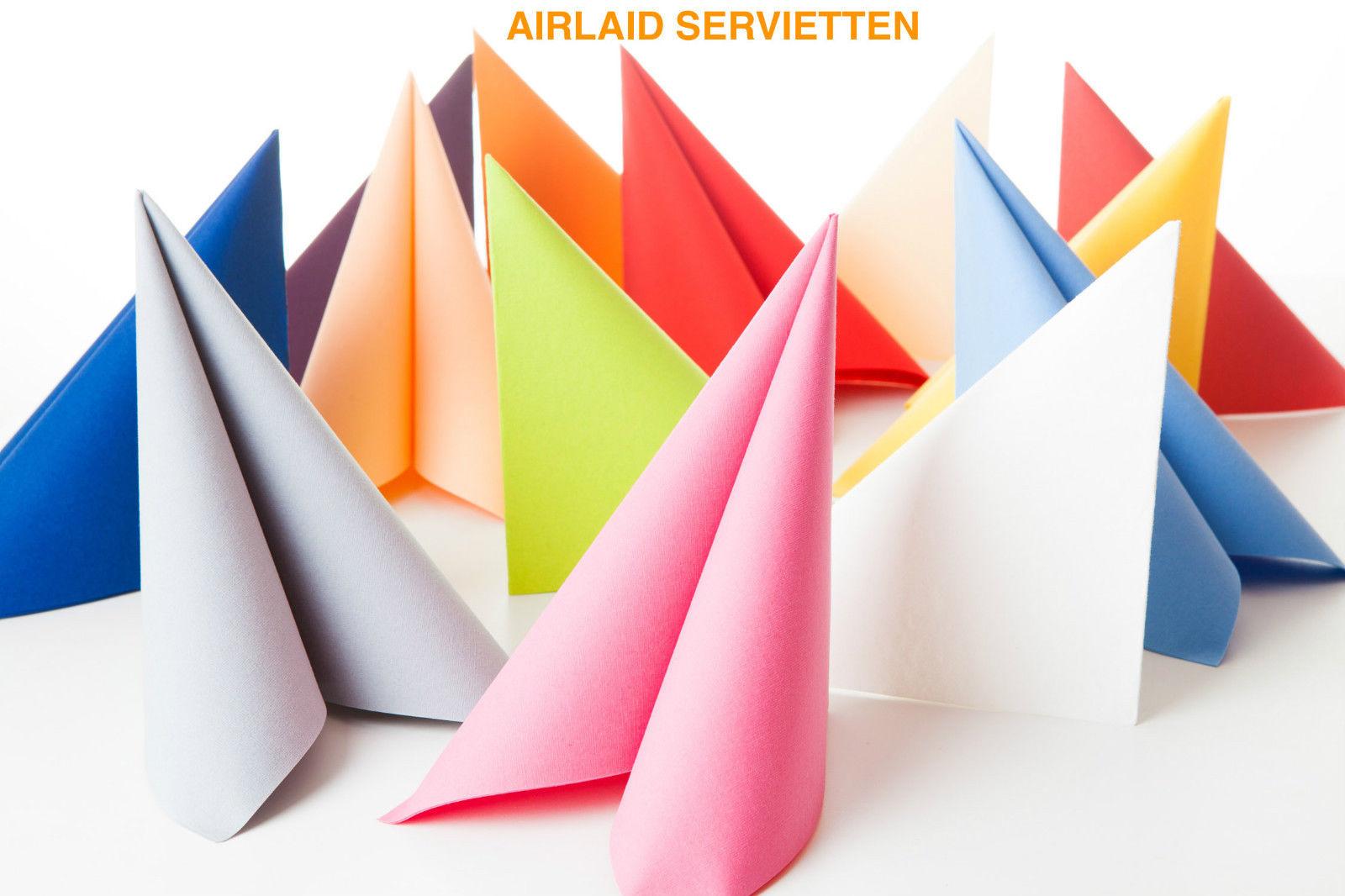 Airlaid Servietten 40x40cm Stoffähnlich Stoffoptik Hochwertig Hochzeit 23 Farben