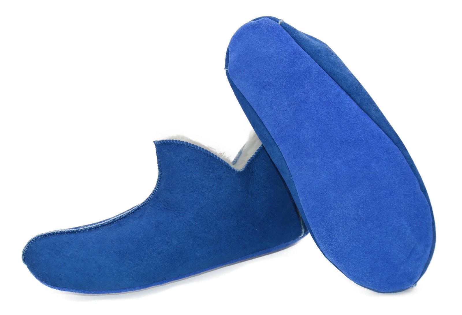 Lammfell Leder Mokassin Hausschuhe Pantoffeln Hüttenschuhe Fell ballerina Blau