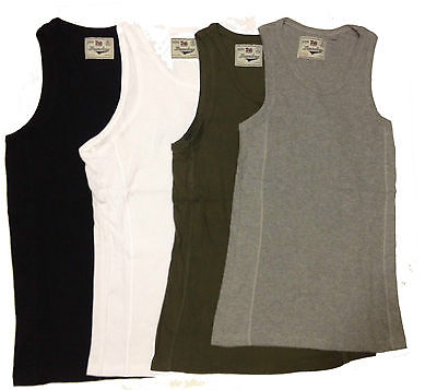 Mens Duke Ribbed Vests Sleeveless Gym Training Summer Singlet Tank Top New