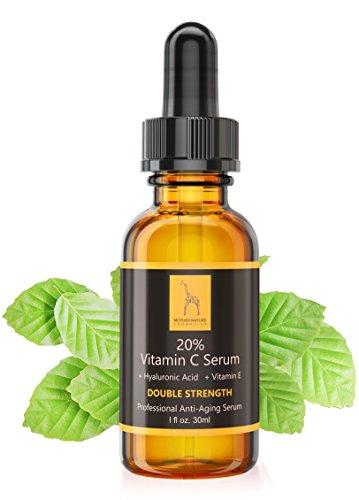 Vitamin C Serum - Mother Nature® | - für Gesicht || Hautpflege gegen fettige, trockene Haut, Falten, Altersflecken & Akne || Porenverfeinerer inkl. Hyaluronsäure, Vitamin E & Ferulasäure || 30ml