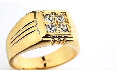 Luxus Herren Ring Gelb Gold 18K pl. Kristall vergoldet Geschenkidee Geburtstag