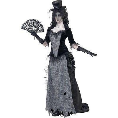 Womens Ghost Town Black Widow Costume Halloween Horror Zombie Fancy Dress