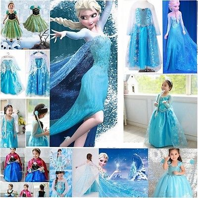 Mädchen Frozen Elsa Perlen Tüll Kleid Kostüm Cosplay Party Dress Eiskönigin 2-10
