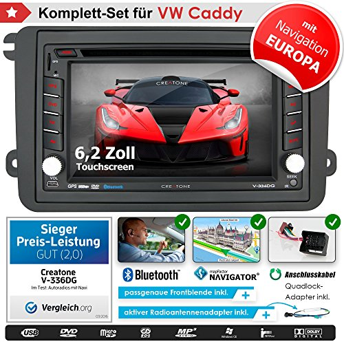 2DIN Autoradio CREATONE V-336DG für VW Caddy (2003-2015) mit GPS Navigation (Europa), Bluetooth, Touchscreen, DVD-Player und USB/SD-Funktion