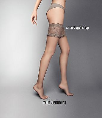 NEW Womens Ladies Hold ups Lace Top Stocking  Sexy Sheer Italian Made Natural