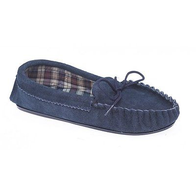 Mokkers AMANDA Ladies Womens Suede Comfy Warm Soft Moccasin Slippers Navy Blue
