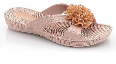 Ladies SIZE 3 - 8 Gold Flower Mules Sandals Slip on NEW Beach Flip Flops Glitzy