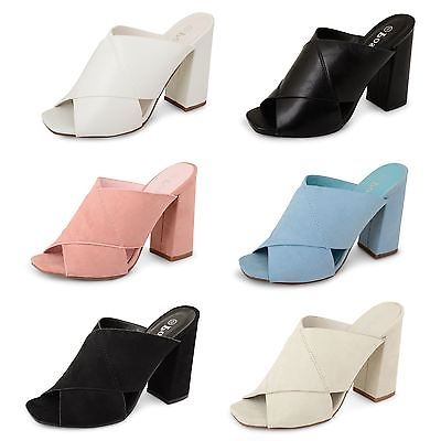 Womens Ladies Chunky High Heel Office Work Fashion Party Peep Toe Clog Shoes