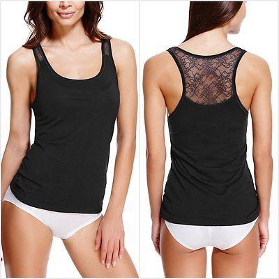 Ex M&S Marks and Spencer Women's Black Modal Blend Lace Racer Back Vest Cami
