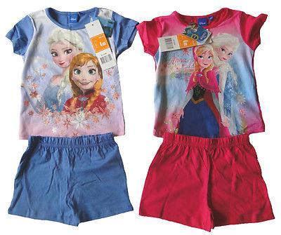 Mädchen kurzarm Pyjama Frozen die Eiskönigin Anna Elsa Sommer Schlafanzug Shorty