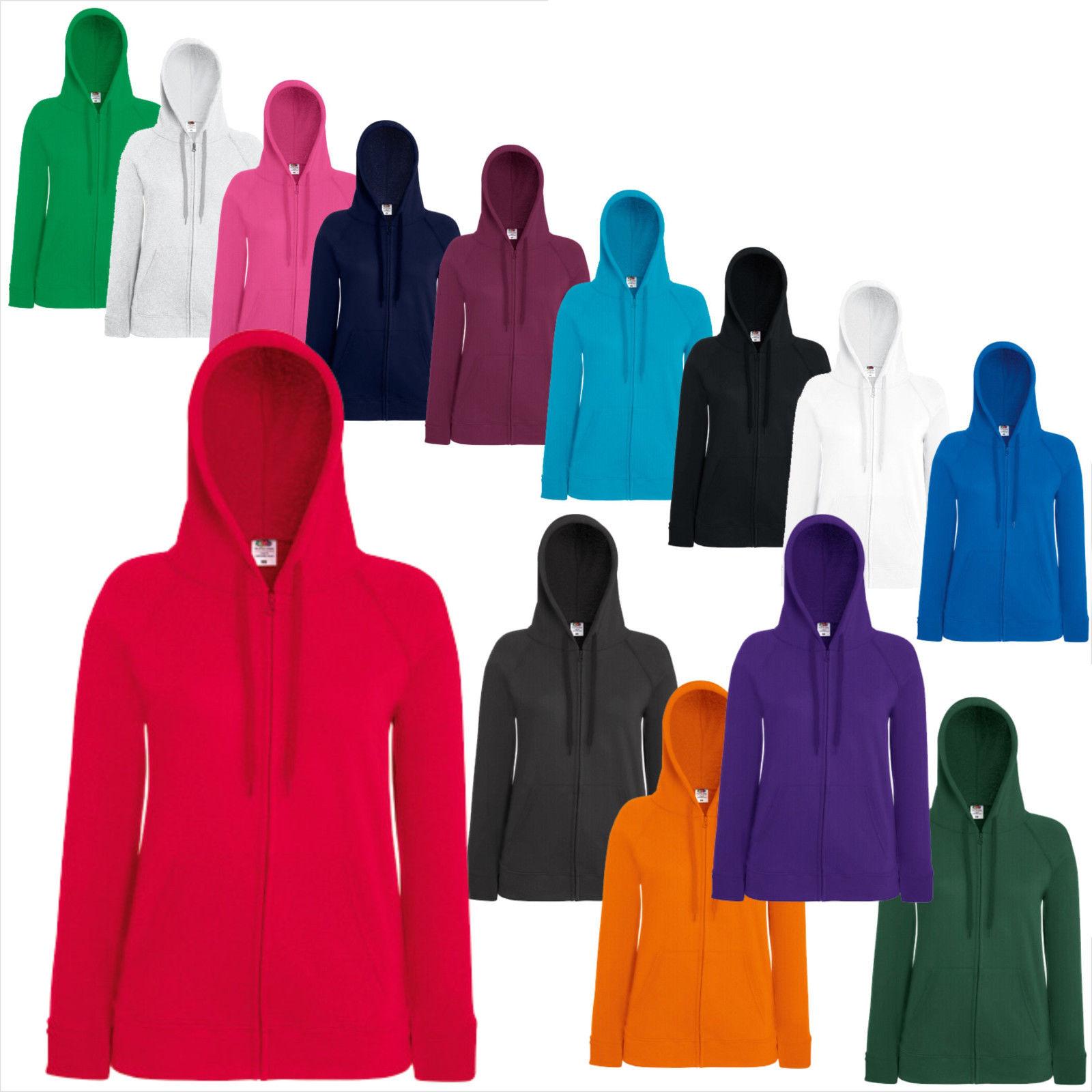 FRUIT OF THE LOOM Lady-Fit Lightweight Hooded Sweat Jacke XS S M L XL XXL (B)FOL