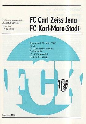 OL 81/82  FC Karl-Marx-Stadt - FC Carl Zeiss Jena