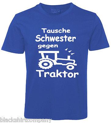 Kinder Sprüche Shirt TAUSCHE SCHWESTER BLAU
