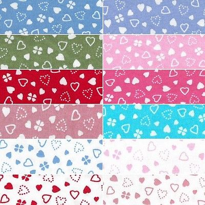 Scattered With Love Hearts 100% Cotton Poplin Fabric Patchwork (FF)
