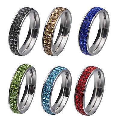 HJ: 1 Damen Herrren Edelstahl Ring Fingerringe Strass Partnerring Geschenk M9694