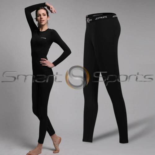 ATHLETE Ladies BLACK Sports Compression Baselayers Tops Short Long Pants XS-XL