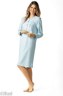 Comtessa Interlock Nachthemd Nachtkleid Shirt helllblau, ecru 105cm lang NEU
