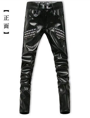 Junge männliche Motorrad Hosen Reißverschluss PU-Leder Hosen Lange Hosen  3161