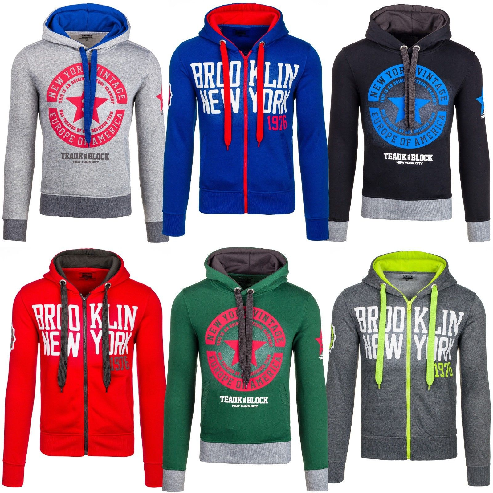 BOLF Kapuzenpullover Pullover Sweatshirt Langarm Sweatjacke Print Motiv 1A1 Mix