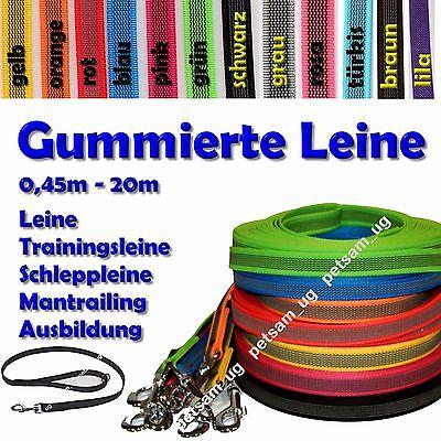 gummierte Sportleine Leine 15mm Schleppleine Hundeleine SCHRAUBNIETEN Mantrailin