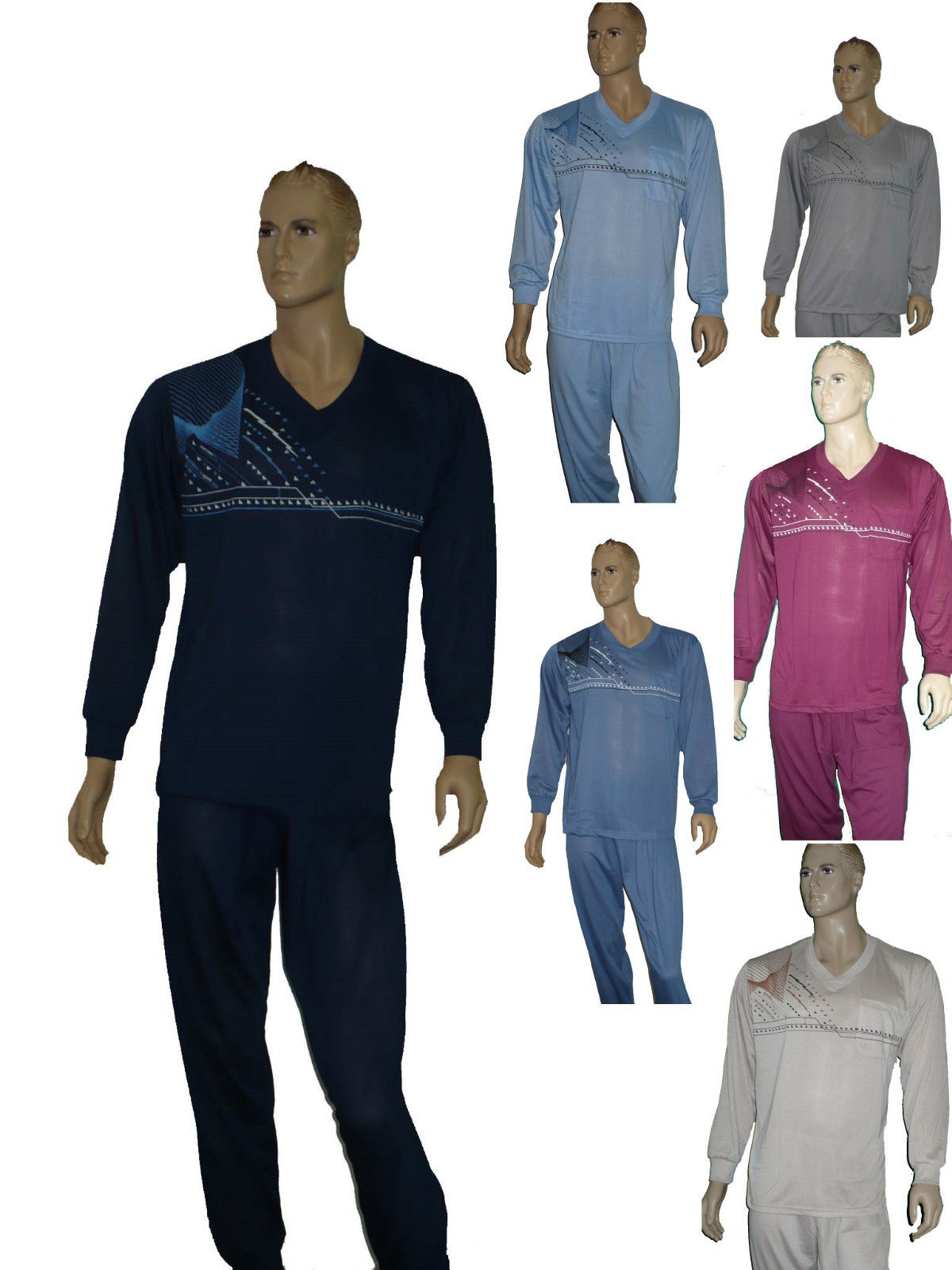 Herren Schlafanzu lang Arm-u.Beinbündchen in Markenqualität Pyjama Gr.M-XXXL