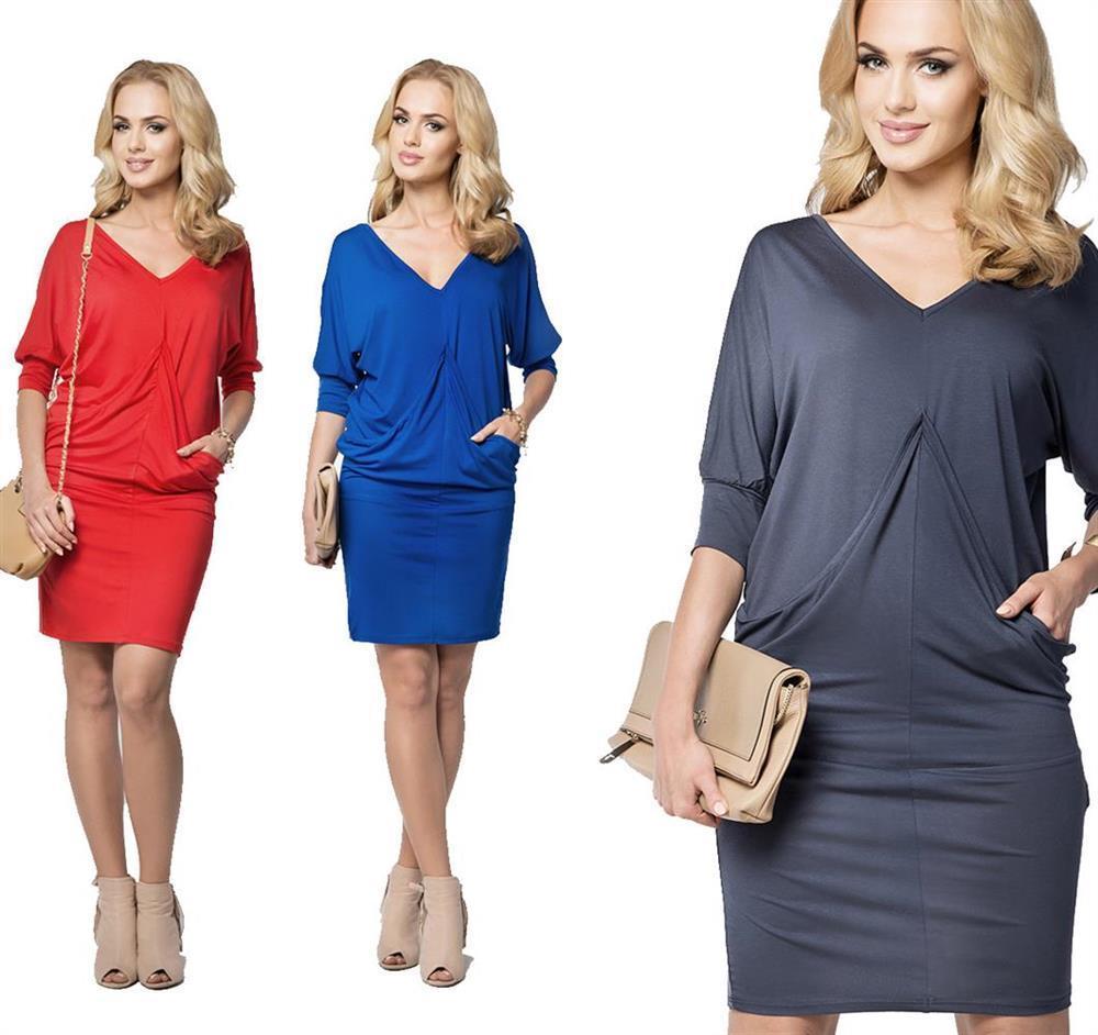 Kleid V-Ausschnitt mit Taschen Top Mini-Kleid Gr. S M L XL XXL 3XL, B013